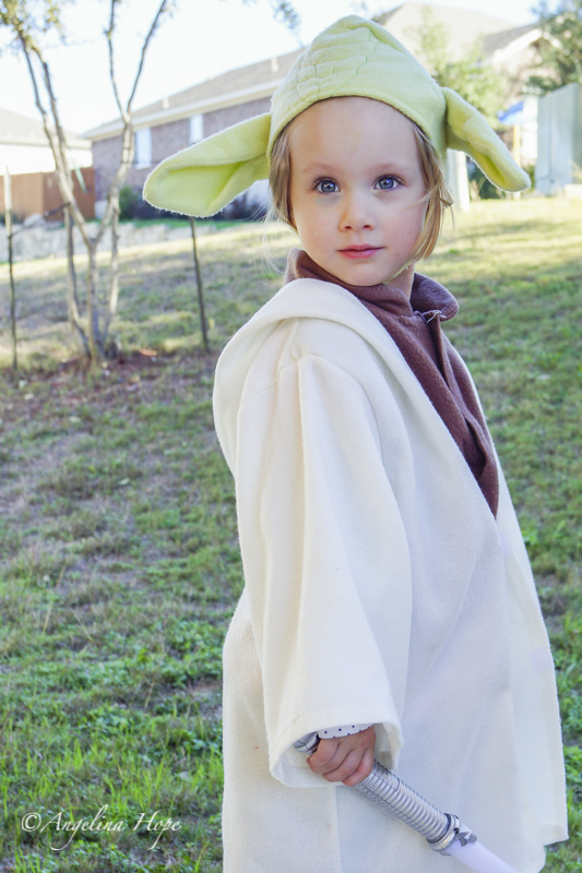 Julianna, my Yoda Baby. It was her idea to dress up and go run and play outside!